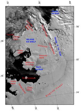 Image satellite du secteur de la plate-forme antarctique Wilkins (600 x 400km) en février 2003