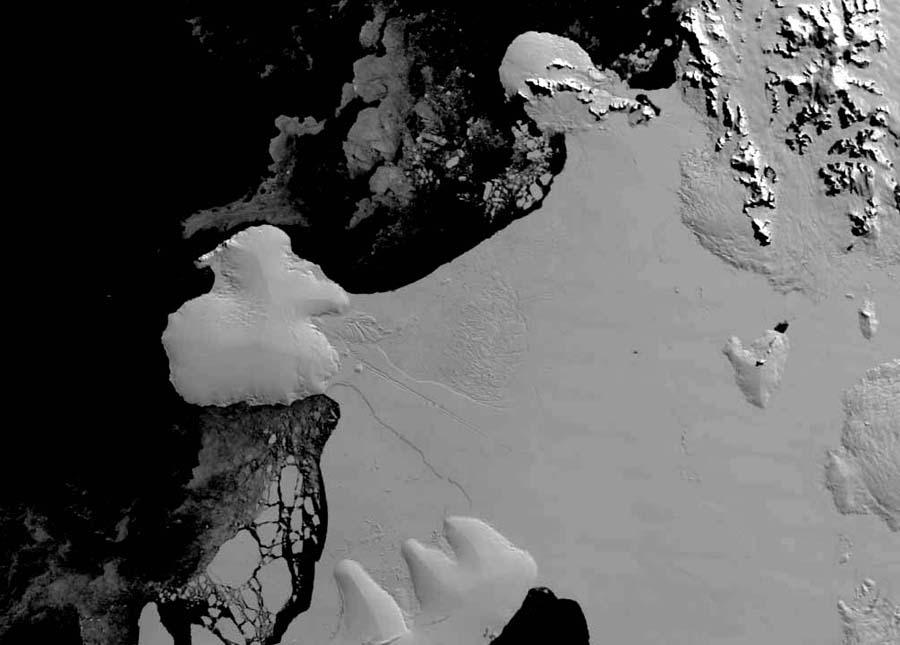 Plate-forme Wilkins (Antarctique): état du pont de glace en mars 2007