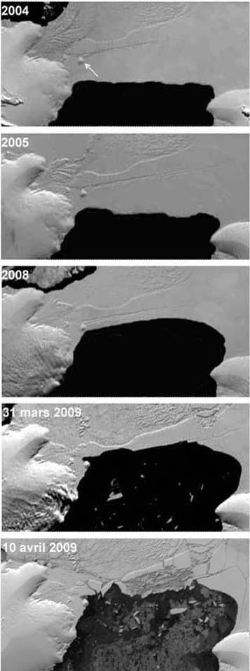 Plate-forme Wilkins (Antarctique): évolution du pont de glace entre 2004 et avril 2009