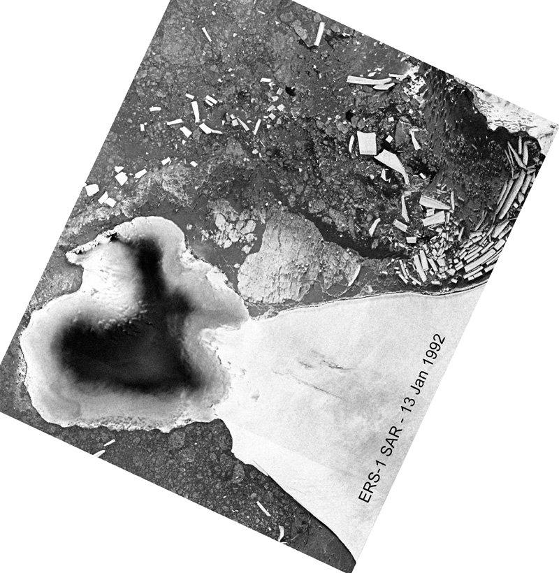 Plate-forme Wilkins (Antarctique): image radar (ERS1) montrant l'état du pont de glace en janvier 1992