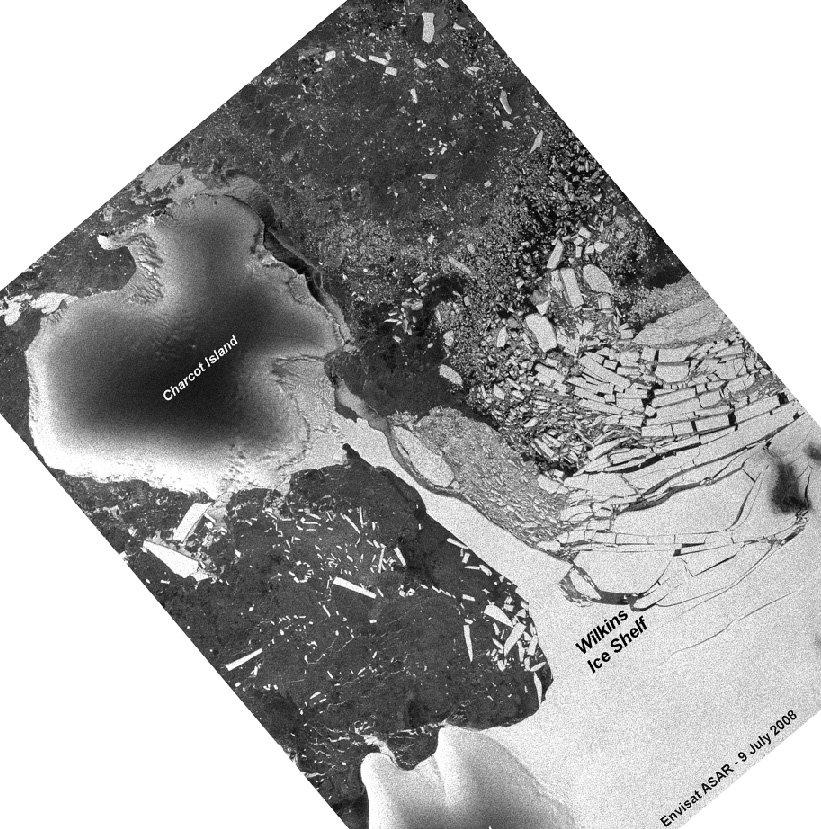Plate-forme Wilkins (Antarctique): image radar (ENVISAT) montrant l'état du pont de glace en juillet 2008