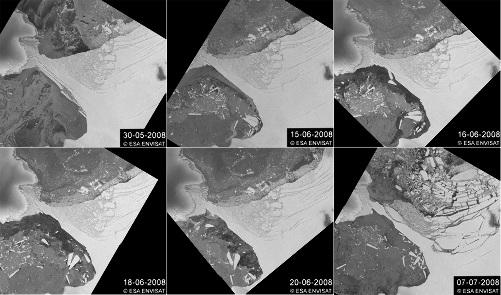 Plate-forme Wilkins (Antarctique): montage de 6 images radar ENVISAT montrant l'évolution du pont de glace entre le 30 mai et le 7 juillet 2008
