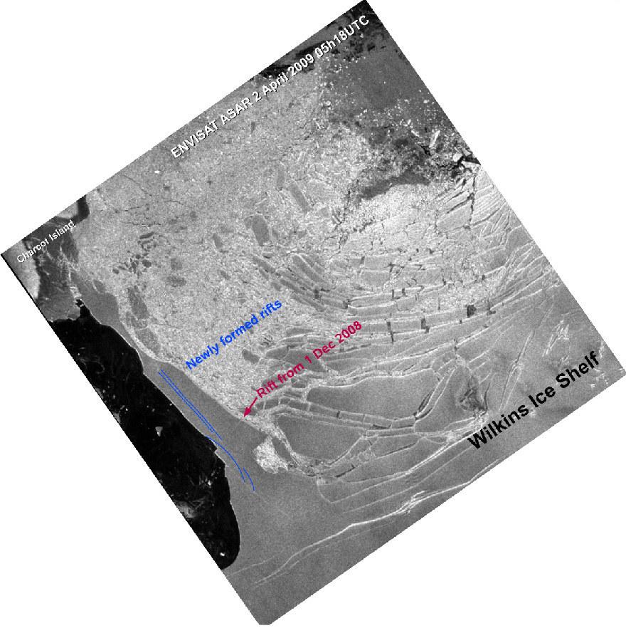 Plate-forme Wilkins (Antarctique): image ENVISAT du 2 avril 2009