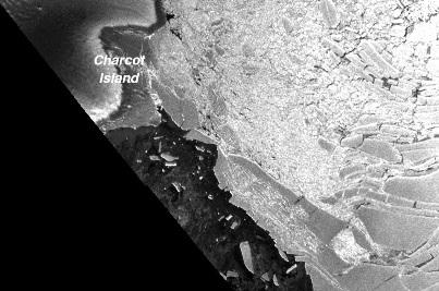 Plate-forme Wilkins (Antarctique): gros plan sur la rupture du 6 avril 2009 (image ENVISAT)