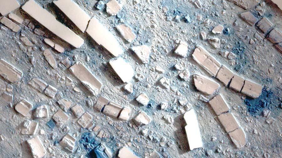 """Plate-forme Wilkins (Antarctique): image satellitale """"haute résolution"""" du champ d'icebergs issus de la quasi-rupture de mars 2008"""