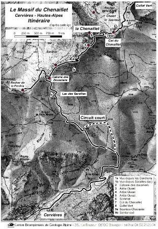 Itinéraire de l'excursion du Chenaillet