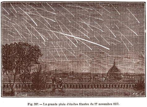 Gravure en noir et blanc illustrant la pluie d'étoiles filantes du 27 novembre 1872