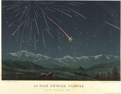 Gravure en couleur illustrant la pluie d'étoiles filantes du 27 novembre 1872