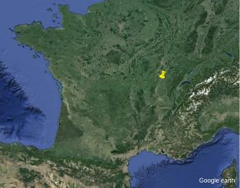 Localisation, en France, du site de Sermoyer et La Truchère-Ratenelle (punaise jaune)