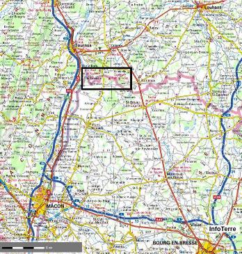 Localisation régionale du site de Sermoyer et La Truchère-Ratenelle (cadre noir)