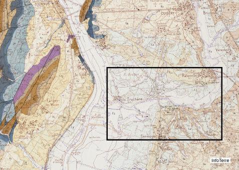 Carte géologique (Tournus) du secteur des formations dunaires continentales (cadre noir)