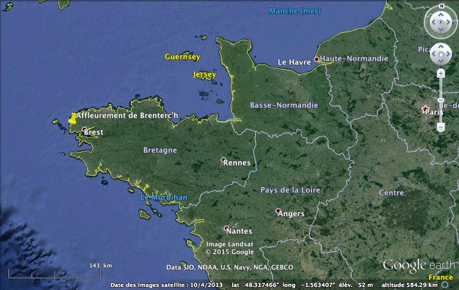 Localisation de l'affleurement de Brenterc'h à la pointe de la Bretagne