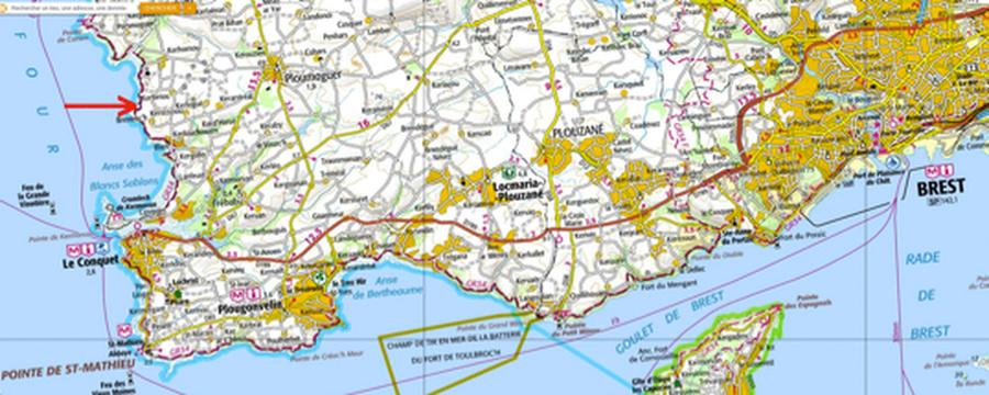 Localisation de l'affleurement de Brenterc'h au Nord du Conquet