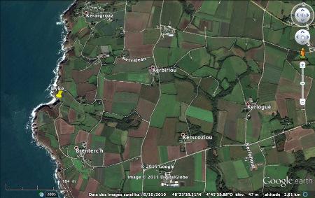 Localisation du dyke de dolerite de l'affleurement de Brenterc'h