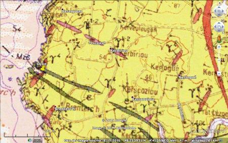 Extrait de la carte géologique du Conquet au 1/50000