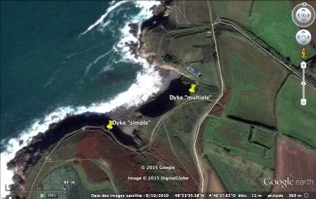 Vue aérienne des dykes de l'affleurement de Brenterc'h