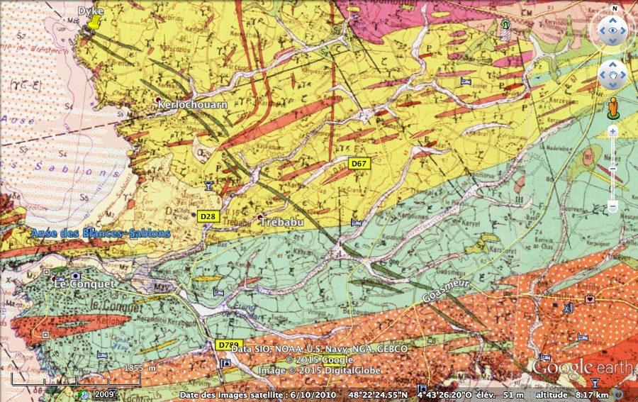 Extrait des cartes géologiques du Conquet et de Brest au 1/50000
