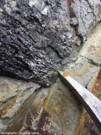 Détail du contact gneiss / granodiorite dans l'encaissant