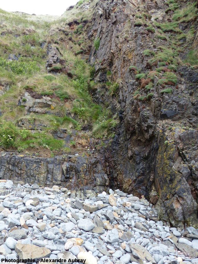 Contact Sud entre l'encaissant paléozoïque (à droite) et le filon de dolérite (à gauche)