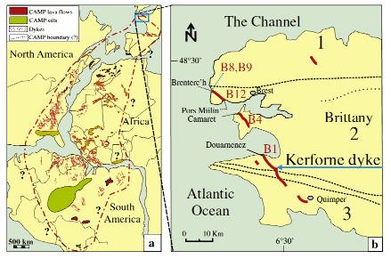 Reconstitution paléogéographique de la CAMP à la limite Trias – Lias (a), et localisation de vestiges de la CAMP en Bretagne (b)