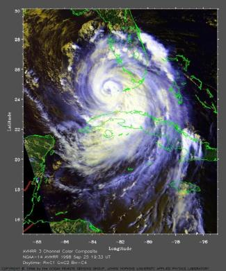Vue satellitale du cyclone Georges, 25 septembre 1998.
