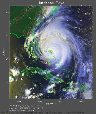 Vue satellitale du cyclone Floyd, 14 septembre 1999