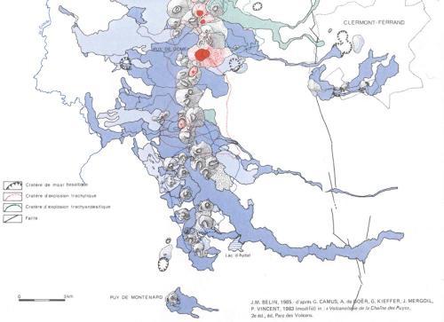 Carte géologique de la chaîne des Puys