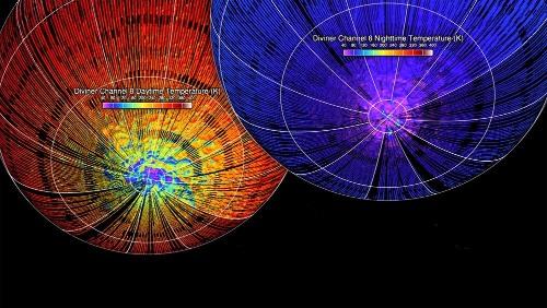 Cartes de la température diurne et nocturne dans l'hémisphère Sud de la Lune