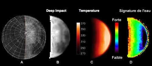 Répartition globale de l'eau sur la Lune, données Epoxi