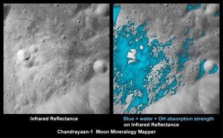 Image IR (à gauche) et intensité (à droite) de l'absorption par l'eau (H2O et OH) dans les éjectas d'un petit cratère récent