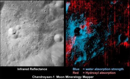 Image IR (à gauche) et intensité (à droite) de l'absorption par l'eau (H2O) et par OH dans les éjectas d'un petit cratère récent