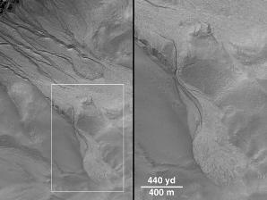 Autre exemple de figure de ruissellement sur Mars