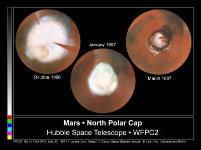 Retrait saisonnier de la calotte polaire martienne Nord
