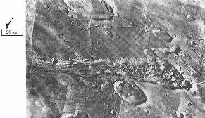 Chenaux de débâcle issus d'un terrain chaotique