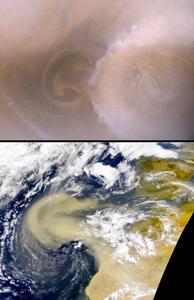 Comparaison de tempêtes sur Mars et sur Terre