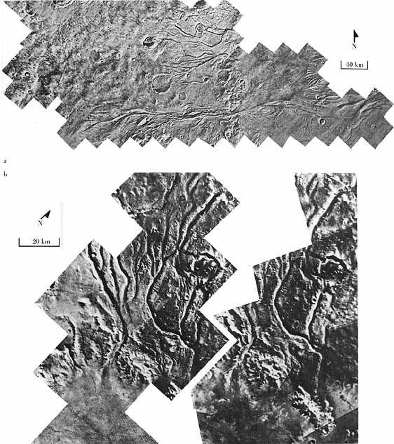 (a) Chenaux entre Lunae Planum (Ouest)) et Chryse Planitia (Est) et (b) Détail de Vedra et Maumee Valles