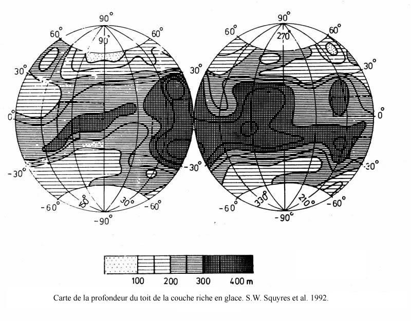 Carte de la profondeur du toit de la couche riche en glace