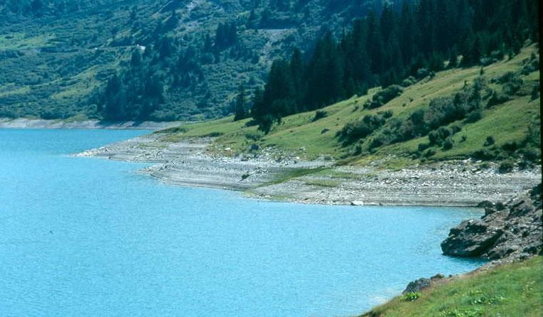 Lignes de rivages observées au bord d'un lac de barrage EDF de Roseland (Beaufortin) en période de basses eaux