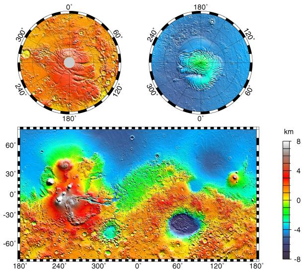 Carte topographique de Mars obtenue par l'altimètre laser MOLA de Mars Global Surveyor