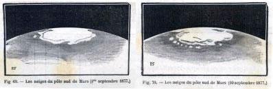 Dessins de la calotte polaire Sud de Mars au 1er septembre 1877 et au 10 septembre 1877