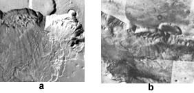 Glissement de terrain dans le Ganges Chasma (Valles Marineris), vue oblique et vue verticale