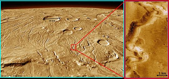 Ancien réseau fluviatile sur Mars maintenant asséché, prouvant que vers −4 à −3,5Ga, la pression atmosphérique et la température permettaient à de l'eau liquide de persister sur Mars