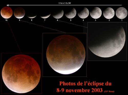 Déroulement de la première partie d'une éclipse de Lune photographiée à Lyon en novembre 2003, avec une lunette de diamètre 63mm et de focale 840mm