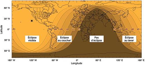 Planisphère avec les différentes zones de visibilité, ainsi que les moments de la journée où le phénomène sera visible, éclipse de Lune du 21 décembre 2010