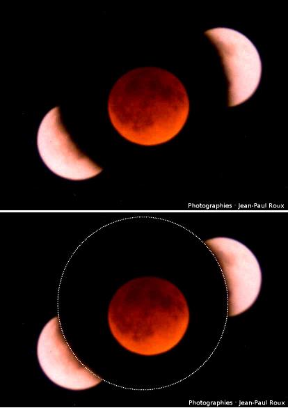 Superposition de 3 clichés pris lors d'une éclipse de Lune: entrée dans l'ombre, phase totale et sortie de l'ombre de la Terre