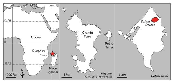 Localisation du lac Dziani Dzaha (Mayotte), entre Afrique et Madagascar
