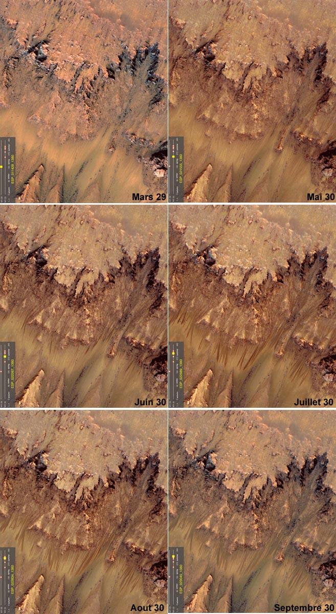 Évolution saisonnière des écoulements sombres flanc Nord (exposé au soleil) du cratère Newton (41,6 ° lat. Sud, 202,3 long.), Mars