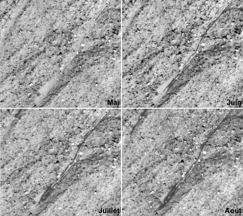 Zooms montrant la progression d'un écoulement sombre pendant l'année 30, région de Terra Sirenum (48,1° lat. Sud et 242,4 long.), Mars