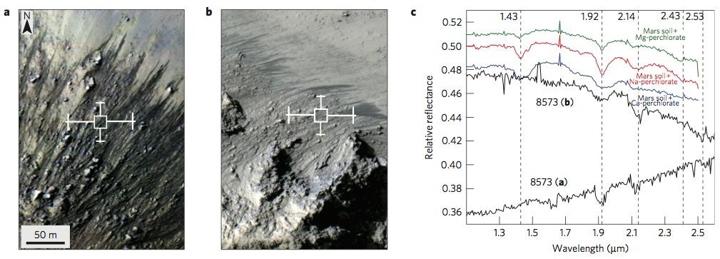 Deux spectres CRISM obtenus sur des RSL du cratère Horowitz