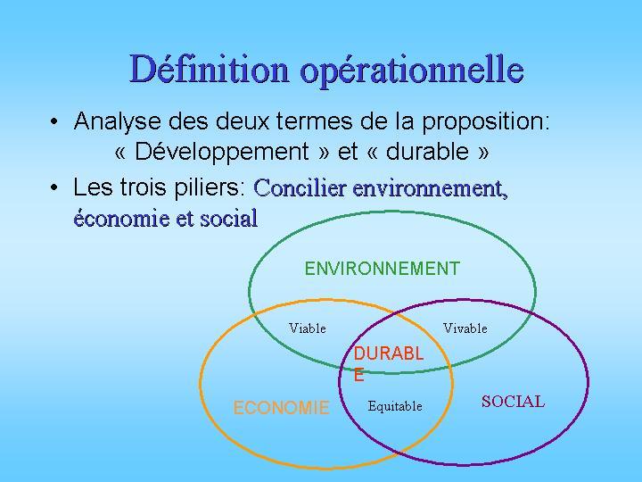 Définition opérationnelle du développement durable